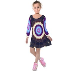 Mandala Art Design Pattern Ornament Flower Floral Kids  Long Sleeve Velvet Dress