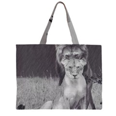 King And Queen Of The Jungle Design  Zipper Large Tote Bag