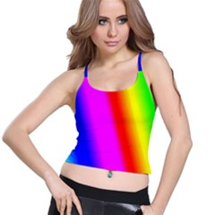 Multi Color Rainbow Background Spaghetti Strap Bra Top
