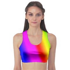 Multi Color Rainbow Background Sports Bra