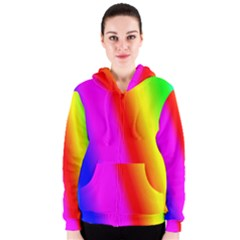 Multi Color Rainbow Background Women s Zipper Hoodie