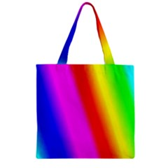 Multi Color Rainbow Background Zipper Grocery Tote Bag