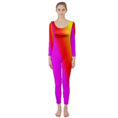 Multi Color Rainbow Background Long Sleeve Catsuit