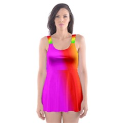 Multi Color Rainbow Background Skater Dress Swimsuit