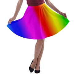 Multi Color Rainbow Background A Line Skater Skirt
