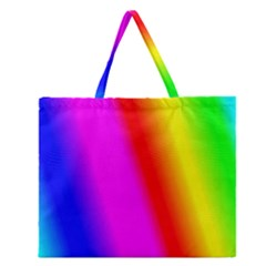 Multi Color Rainbow Background Zipper Large Tote Bag