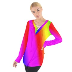Multi Color Rainbow Background Women s Tie Up Tee