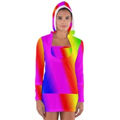 Multi Color Rainbow Background Women s Long Sleeve Hooded T-shirt