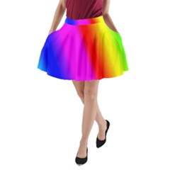 Multi Color Rainbow Background A Line Pocket Skirt