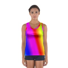 Multi Color Rainbow Background Women s Sport Tank Top