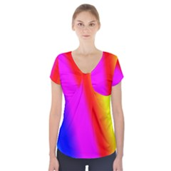 Multi Color Rainbow Background Short Sleeve Front Detail Top