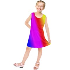 Multi Color Rainbow Background Kids  Tunic Dress