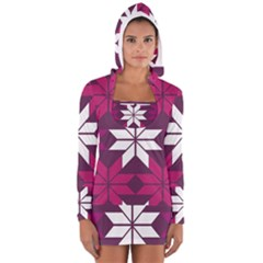 Pattern Background Texture Aztec Women s Long Sleeve Hooded T-shirt