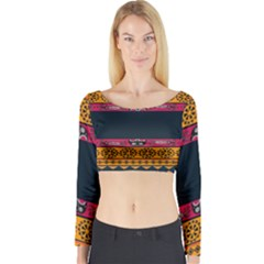 Pattern Ornaments Africa Safari Summer Graphic Long Sleeve Crop Top