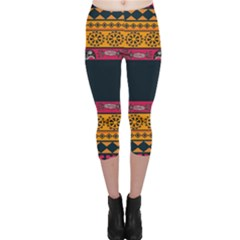 Pattern Ornaments Africa Safari Summer Graphic Capri Leggings