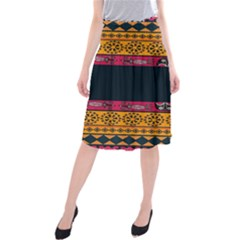 Pattern Ornaments Africa Safari Summer Graphic Midi Beach Skirt