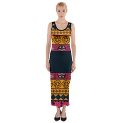 Pattern Ornaments Africa Safari Summer Graphic Fitted Maxi Dress