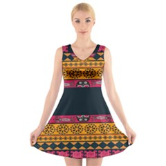 Pattern Ornaments Africa Safari Summer Graphic V Neck Sleeveless Skater Dress
