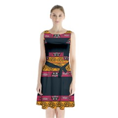 Pattern Ornaments Africa Safari Summer Graphic Sleeveless Chiffon Waist Tie Dress