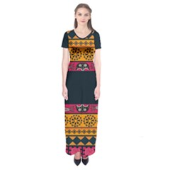 Pattern Ornaments Africa Safari Summer Graphic Short Sleeve Maxi Dress