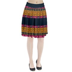 Pattern Ornaments Africa Safari Summer Graphic Pleated Skirt