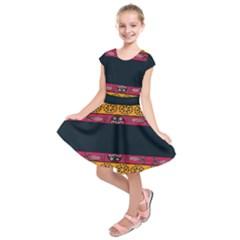 Pattern Ornaments Africa Safari Summer Graphic Kids  Short Sleeve Dress
