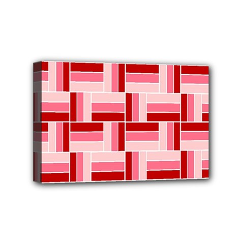 Pink Red Burgundy Pattern Stripes Mini Canvas 6  x 4