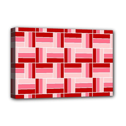 Pink Red Burgundy Pattern Stripes Deluxe Canvas 18  X 12