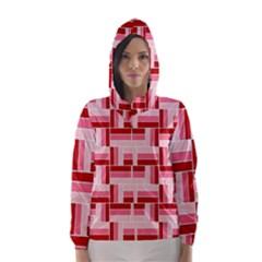 Pink Red Burgundy Pattern Stripes Hooded Wind Breaker (women)