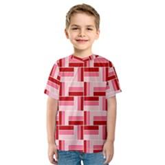 Pink Red Burgundy Pattern Stripes Kids  Sport Mesh Tee