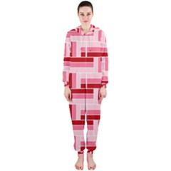 Pink Red Burgundy Pattern Stripes Hooded Jumpsuit (ladies)