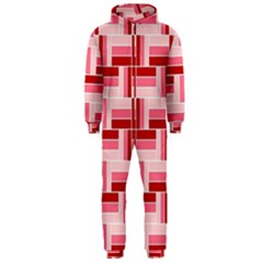 Pink Red Burgundy Pattern Stripes Hooded Jumpsuit (men)