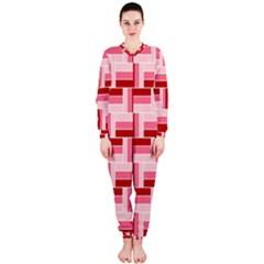 Pink Red Burgundy Pattern Stripes Onepiece Jumpsuit (ladies)