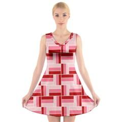 Pink Red Burgundy Pattern Stripes V Neck Sleeveless Skater Dress