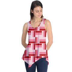 Pink Red Burgundy Pattern Stripes Sleeveless Tunic