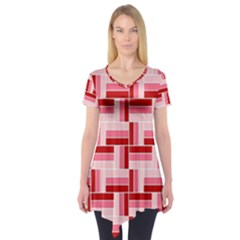 Pink Red Burgundy Pattern Stripes Short Sleeve Tunic