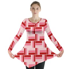 Pink Red Burgundy Pattern Stripes Long Sleeve Tunic