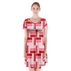 Pink Red Burgundy Pattern Stripes Short Sleeve V-neck Flare Dress
