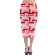 Pink Red Burgundy Pattern Stripes Midi Pencil Skirt