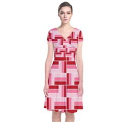 Pink Red Burgundy Pattern Stripes Short Sleeve Front Wrap Dress