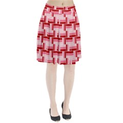 Pink Red Burgundy Pattern Stripes Pleated Skirt