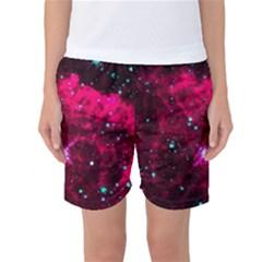 Pistol Star And Nebula Women s Basketball Shorts