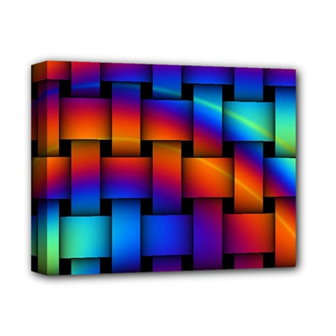 Rainbow Weaving Pattern Deluxe Canvas 14  X 11