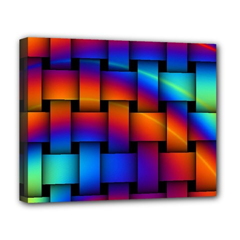 Rainbow Weaving Pattern Deluxe Canvas 20  X 16