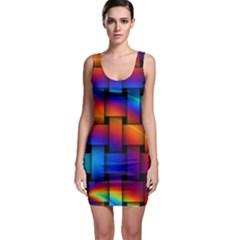Rainbow Weaving Pattern Sleeveless Bodycon Dress