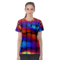 Rainbow Weaving Pattern Women s Sport Mesh Tee