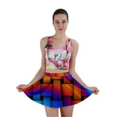 Rainbow Weaving Pattern Mini Skirt