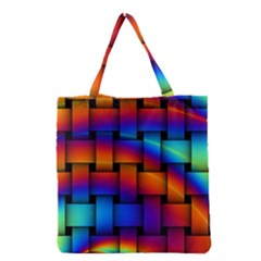 Rainbow Weaving Pattern Grocery Tote Bag
