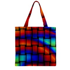 Rainbow Weaving Pattern Zipper Grocery Tote Bag