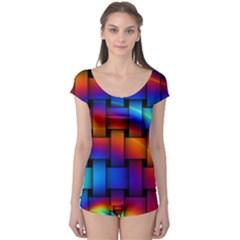 Rainbow Weaving Pattern Boyleg Leotard